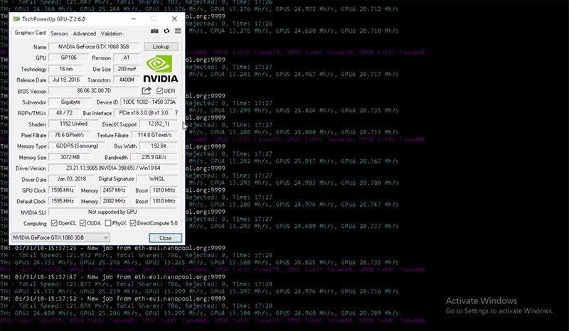 GIGABYTE GeForce GTX 1050 Ti WindForce OC 4G ETHEREUM mining + HASHRATE