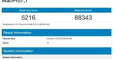 Mac Pro 2019 - macpro7,1 geekbench score
