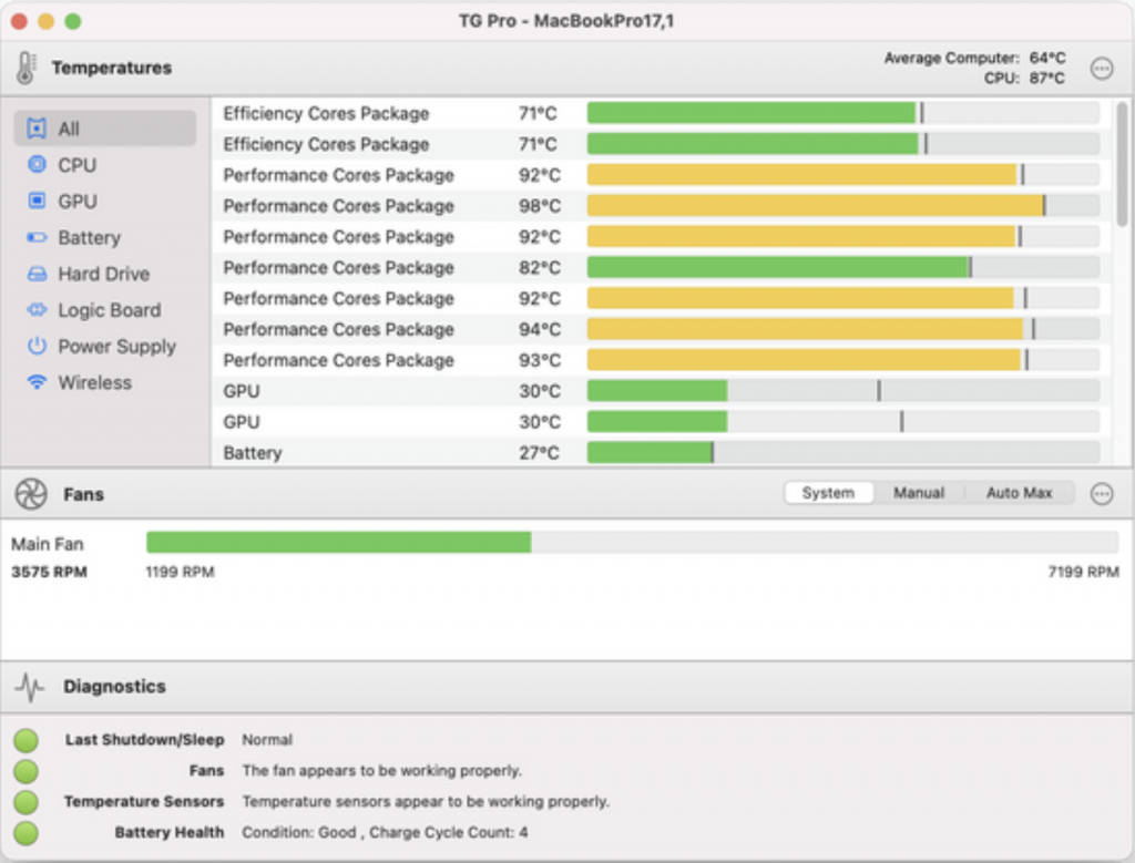 Temperature & fan monitoring tool for APPLE SILICON M1 Macbook, Macbook Pro and Mac mini